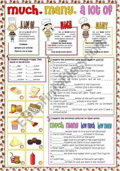 Students can practice the use of much, many and a lot of. There are three different activities and vocabulary related to food. English Grammar Worksheets, Learn English Grammar, English Idioms, Grammar Lessons, English Words, English Vocabulary, Grammar Exercises, English Exercises, English Teaching Materials