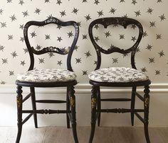 Osborne And Little Sirius F7125-01 Fabric | Designer Fabrics 2017 | TM Interiors Limited  A jacquard of small-scale stylised two-tone stars on a plain ground, contained in the Matthew Williamson Belvoir Fabrics.