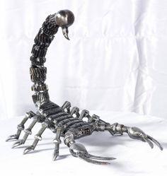 scorpion statue sculpture figure, life size scrap metal art