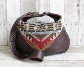 Borsa indiana coperta, Hobo in pelle marrone, pelle Cross corpo, borsa in pelle, borsa tribale, lana e cuoio Bag, borsa in stile Navajo