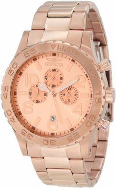 Invicta Men's 1271 Specialty Chronograph Rose Dial 18k Rose Gold Ion-Plated Watch Invicta. $115.00. Chronograph functions with 60 second, 60 minute and 24 hour subdials; date function; Water-resistant to 50 M (165 feet); Mineral crystal; 18k rose gold ion-plated stainless steel case and bracelet; Rose dial with rose gold tone hands, hour markers and arabic numerals; luminous; unidirectional bezel; Japanese quartz movement. Save 83% Off!