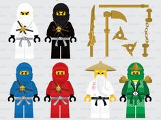 This digital clipart set including 6 Ninjago Character & weapons. Each clipart saved separately a Diy Lego Birthday Party Ideas, Lego Party Games, 4th Birthday Parties, Lego Ninjago, Ninjago Party, Ninjago Coloring Pages, Disney Coloring Pages, Lego Disney, Ninja Birthday
