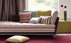Romo fabric, Cocota pattern on sofa Romo Fabrics, Upholstery Fabrics, Palette, Interior Design Photos, Vintage Chairs, Sofa Furniture, Soft Furnishings, Home Renovation, Fabric Design