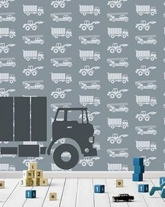 Wallpaper cars with gray truck - Kinderkamer ideetjes - School Book Covers, Construction Bedroom, Waterfall House, Kids Wallpaper, Childproofing, Baby Room Decor, Kidsroom, Boy Room, Interior Decorating
