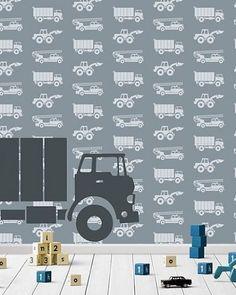 Behang auto's met vrachtwagen grijs