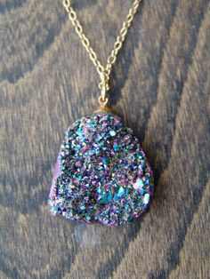 Titanium Quarz Rainbow Druzy Geode Necklace by HFinnJewelry, $86.00