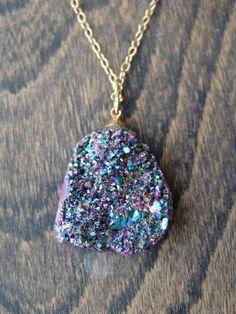 Titanium Quarz Rainbow Druzy Geode Necklace by HFinnJewelry, $86.00