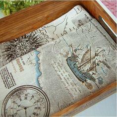 Cotton Linen Fabric Cloth -DIY Cloth Art Manual Cloth-Nautical Map 55x18Inches. $7.20, via Etsy.