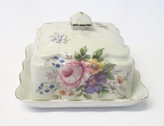 Vintage Old Foley Butter Dish with Floral by TheWhistlingMan
