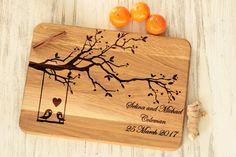 Personalized cutting board wedding gift for couple Tree cheese board engraved Anniversary gift for bride Love birds cutting board heart by Vyroby