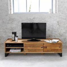 Banca para TV, de roble macizo laminado y acero, Hiba La Redoute Interieurs   La Redoute Mobile