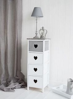 Grey and white narrow storage drawers for hall bedroom or living room. The White Lighthouse offers a range of furniture and accessories with a combination of Coastal, Scandi, Danish, French, Shabby Chic and New England styles Shabby Chic Living Room, Shabby Chic Bedrooms, Shabby Chic Homes, Shabby Chic Furniture, Shabby Chic Storage, Hall And Living Room, Rustic Chic Decor, Furniture Makeover, Storage Drawers
