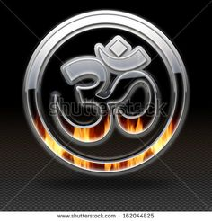 Om Symbol icon glossy, on grey background. - stock photo