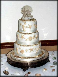 My wedding cake. Beach theme reception. #shells