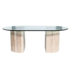 View this item and discover similar for sale at - Demilune travertine dining table with beveled racetrack glass top, USA, An elegant and simple form this glass dining table or desk is assembled Modern Dining Room Tables, Glass Dining Table, Round Dining Table, Travertine, Table Furniture, 1980s, Interiors, Antique, Home Decor