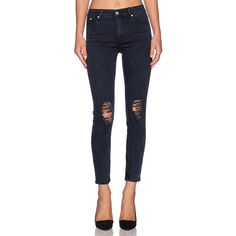 RES Denim Kitty Crop Skinny Denim ($93) ❤ liked on Polyvore