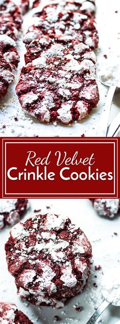 Red Velvet Crinkle Cookies | Red velvet chocolate cookies get coated in powdered sugar for the perfect Christmas or Valentine's Day dessert recipe!