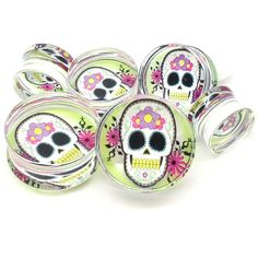 Double Flared Ear Plug With Day Of The Dead Logo