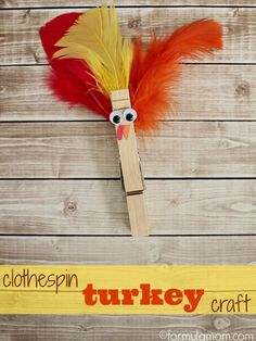 Easy Clothespin Turkey Craft for Thanksgiving. Create cute turkey crafts with your kids using clothespins, feathers, googly eyes, and glue! Thanksgiving Crafts For Toddlers, Thanksgiving Activities, Thanksgiving Turkey, November Thanksgiving, Craft Activities, Preschool Crafts, Kids Crafts, Preschool Boards, Holiday Crafts