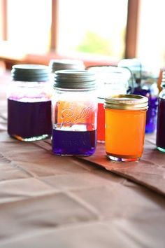 more ideas for period egg dying contest at Bar Gemels. The jars are a good idea for a long soak in the dye