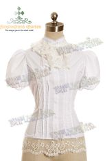 Classical Lolita Tuxedo Tail Short Sleeves Blouse& Ruffle Jabot*3color Instant Shipping