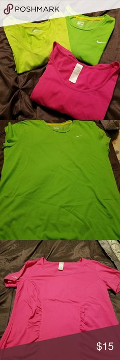Bundle work out shirts Excellent condition workout shirts.. all sz XL... darker green is NIKE, lighter green is XERSION, and the pink one is CURVES. all very comfortable. Tops Tees - Short Sleeve
