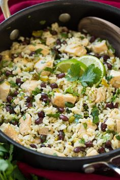 One+Pan+Cilantro-Lime+Chicken+and+Rice+with+Black+Beans