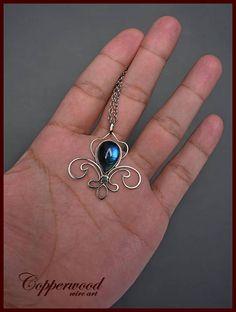 Wire wrapped pendant Blue Labradorite pendant Royal lily