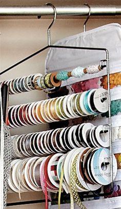 Neat ribbon storage/organization (plus tons of other craft storage ideas). Craft Room Storage, Craft Organization, Ribbon Organization, Storage Ideas, Organizing Ideas, Craft Rooms, Storage Solutions, Organising, Creative Storage