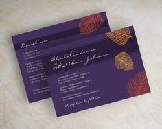 Fall Birch Leaf Wedding Invitations Shown in dark purple, eggplant, orange hues Printed front and back LISTING INCLUDES: 25 5x7 wedding invitations...