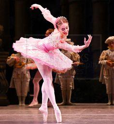 Marianela Nunez as Aurora in the Rose Adagio from The Sleeping Beauty. Photo by Elliott Franks