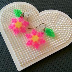 Flower earrings hama mini beads by montse_akane