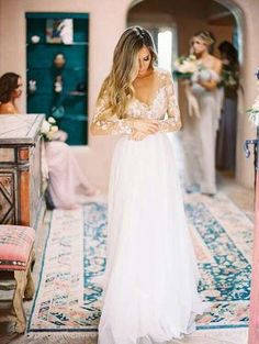Simple Bridal Dress,Lace Long Sleeve Wedding Dress,Custom Made Prom Dress,JD 69 Backless Wedding Dresses To Make You Charming On Wedding Day Simple Bridal Dresses, Long Wedding Dresses, Wedding Dress Sleeves, Cheap Wedding Dress, Bridal Gowns, Wedding Gowns, Ivory Wedding, Wedding Themes, Wedding Ideas