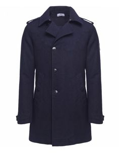 Stone Island Navy Double Breasted Wool Coat