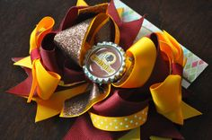 Redskins Bottle Cap Bow by threepeasboutique on Etsy, $9.50