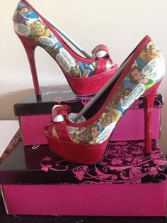 Custom Comic Book Shoes Disney Princess by walkingillustration, $60.00