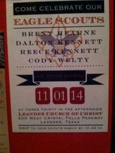 Eagle invitation for our four Eagle Scouts. Created by www.pinktulipinvitations.com