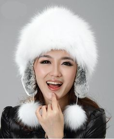 77.63$  Watch now - http://ali9ix.worldwells.pw/go.php?t=1845148602 - H929-autumn and winter super white natural  fox  and rex rabbit  earflap with fur pompom russian  fashion  fur hat womens 77.63$