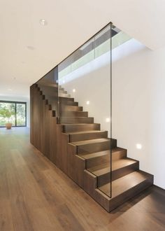 Modern Staircase Design Ideas - Modern stairs are available in numerous styles and designs that can be genuine eye-catcher in the different area. We've compiled ideal 10 modern models of stairs that can give. Glass Handrail, Glass Stairs, Wood Stairs, House Stairs, Basement Stairs, Glass Stair Railing, Open Basement, Basement Ideas