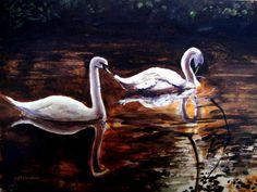 White swans tuscan style original art. Pillows.
