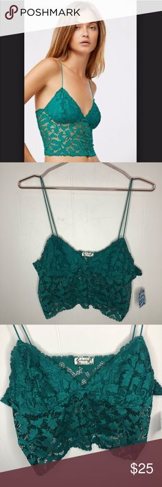 109610c1b962d Free People Lacey Lace Brami Emerald Bralette Free People Lacey Lace Brami  Emerald Bralette. Size