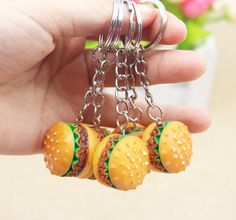 Cute Hamburger Keychain Party Thank You Favors Souvenirs Party Gifts For Guests Kids Birthday Party Gift Ideas Clay Jewelry, Jewelry Sets, Jewelry Accessories, Cute Polymer Clay, Polymer Clay Crafts, Clay Keychain, Car Key Ring, Key Chain Rings, Key Chains