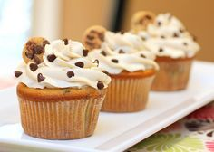 Chocolate Chip Cookie Dough Cupcakes. They literally have cookie dough in the middle... Yum!