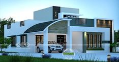 2300 square feet 3 bedroom mixed roof modern house plan by Dream Form from Kerala. House Balcony Design, Single Floor House Design, Modern House Floor Plans, House Outside Design, Modern Bungalow House, Village House Design, Kerala House Design, Small House Design, Modern House Design