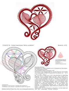 may need to just copy and paste into word to get patterns Filet Crochet, Irish Crochet, Crochet Lace, Crochet Motif Patterns, Bobbin Lace Patterns, Bobbin Lacemaking, Lace Heart, Point Lace, Lace Jewelry