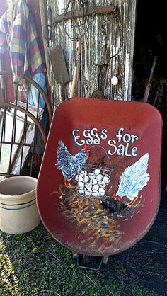 "Recycled Farm Blessings~""Old Fashion Vintage Farm House""~Chicken Art in a Wheelbarrow - cblossum - Picasa Web Albums Chicken Coop Decor, Chicken Signs, Chicken Art, Chicken Coops, Chicken Decorations, Eggs For Sale, Chickens And Roosters, Farm Stand, Down On The Farm"