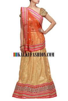 Buy it now http://www.kalkifashion.com/mustard-lehenga-choli-with-gotta-patti-and-lace-work.html Mustard lehenga choli with gotta patti and lace work