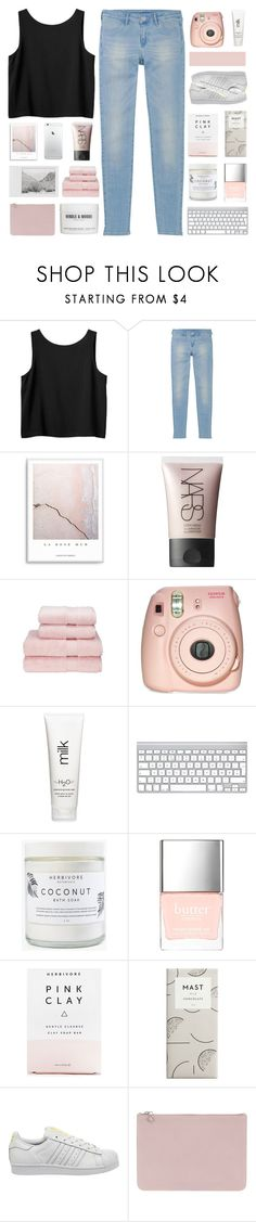 """""""things you already know"""" by orchid-fire ❤ liked on Polyvore featuring Monki, Uniqlo, NARS Cosmetics, Polaroid, Christy, Fujifilm, H2O+, Herbivore, Butter London and adidas"""