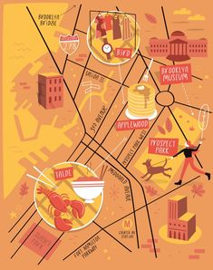 Illustrated map of Park Slope, Brooklyn - Tom Wooley