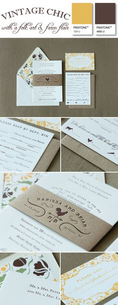vintage & folk art inspired invitation suite by Paper Moss